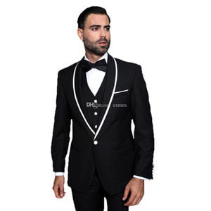 Vestiti di nero smoking dello sposo degli uomini per Weding 3 Pezzi One Button Bianco Scialle risvolto Best Man Blazers Slim Fit Groomsmen Tute Sposo Wear