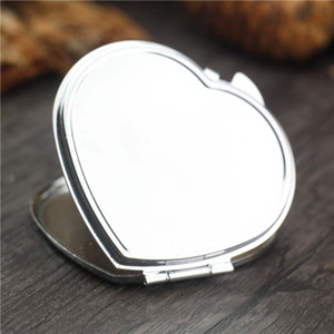 Heart Shaped Metal Pocket Mirror Folding Blank Compact Portable Makeup Mirror for Women Gifts Wedding Party Favor