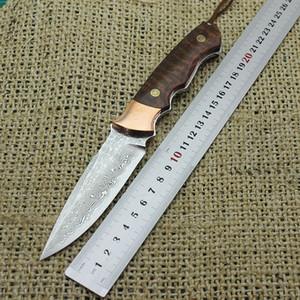 Şam çelik zafer bıçak bakır çelik kafa + yılan ahşap malzeme açık kamp, avcılık ve hayatta kalma cebi meyve bıçağı EDC aracı