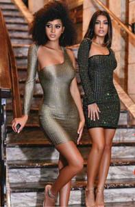 2019 nouvelles femmes noir gris une épaule à manches longues moulantes robes de soirée célébrité soirée bandage robe dropshipping