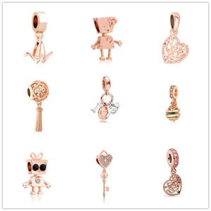 Новейшая бесплатная доставка MOQ20pcs европейскую розовое золото Беллы робот Я тебя люблю замок ключ родословной поделки шарик Fit Pandora браслет D089