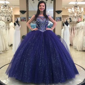 Блестящие темно-синий бисером бальное платье Quinceanera платья Кристалл совок шеи блестками тюль сладкий 16 платья vestidos de quinceañera