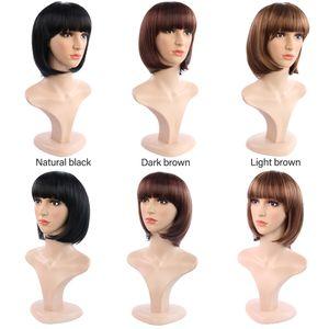 PERUK kızlar moda kısa Bob PERUK siyah kısa düz saç kapağı