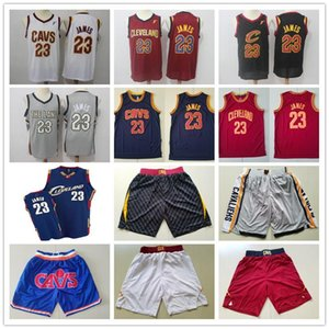 Mens ClevelandCavaliersRetroceso camisetas de LeBron James 23 Baloncesto pantalones cortos de baloncesto jerseys rojo amarillo azul gris blanco