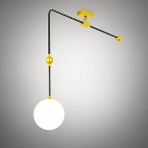 Nordic Minimalismo globo de cristal Persianas Luster E27 giratorias luces pendientes 1 luz cruzada de metal Luminaria de iluminación LED Lamparas
