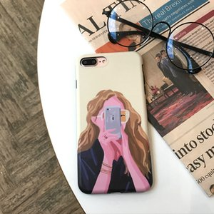 Korean Inswind Illustration Girl Is Suitable for Apple 7plus Mobile Phone Shell IPhone X 8 6S Soft Shell Fashion Girl