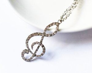 Hot Europe Fashion Jewelry Music Symbol Necklace Rhinestone Pendant Sweater Long Necklace