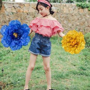 Çocuk Kullanımı Şakayık Çiçek Prop Çocuk Dans Esneklik Gerçekleştirmek El Çiçekler Çocuklar Kırmızı Mavi Sarı Yapay Şakayık 67 62sy L1