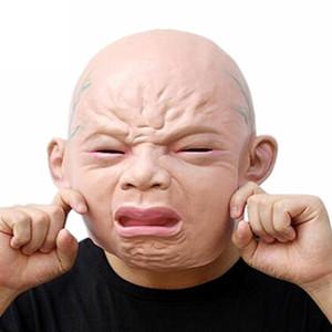 Réaliste pleurer bébé masque tête pleine pleurer masque facial perruques Halloween Bar chambre hanté maison masque d'horreur Cosplay Bar Performances