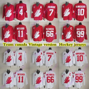 jerseys versão Team Canada Vintage 99 Gretzky 4 ORR 66 MLEMIEUX 7 BOURQUE 11 MESSIER 1O HAWERCHUK CCM camisa hóquei