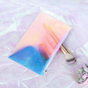 TPU Trasparente Viaggi Cosmetic Case trasparente sacchetto cosmetico con la chiusura lampo olografico per il trucco spazzola del rossetto Pouch Bag Organizer