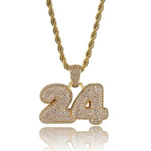 Hip Hop di personalità della collana di monili di lusso pendente delle donne degli uomini di modo 18K del rame placcato Numero 24 Glaring zircone Collane