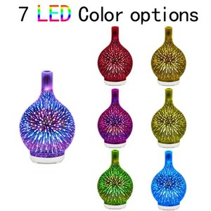 3D Firework Glass Usb Air Humidifier with 7 Color Led Night Light Aroma Essential Oil Diffuser Cool Mist Maker for Home Office Essential Oil