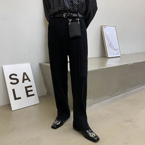 Masculino Japão Coreia Streetwear longa reta Calças Homens Mulheres conter Rivet Bag drapeado Folds Pant Casual