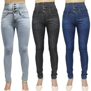 Kalem-Pantolon Stretch Yeni Jeans Minimalizm Skinny Yüksek Bel İlkbahar / Yaz Kadın Slim-Fit Ayaklar DM001