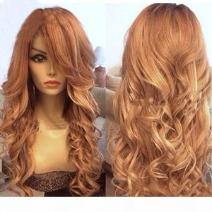 Honey Blonde Full Lace Wig Human Hair Loose Wave Virgin Brazilian Wavy Lace Front Human Hair Wig With Bangs & Baby Hair Color #27