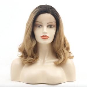 Lâche onduleux Lace Wig Ombre Black Roots Blonde Deux Teintes courts bouclés Bob synthétique dentelle perruques avant fibre résistant à la chaleur des cheveux 1B / 27
