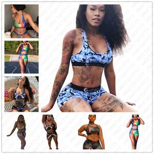 2020 femmes Maillots de bain pour femmes d'été Deux Piece Bikini Set Tissu Maillot sport Soutien-gorge + Boxer Slip de bain Shorts de bain ClothD52103
