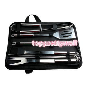 10Pcs Set Stainless Steel Barbecue Grilling Tools Set BBQ Utensil Accessories Camping Outdoor Cooking Tools Kit with Carry Bag