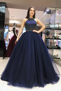 2020 Navy Blue Ball Gown Evening Prom Dress Halter Pearls Beaded Soft Tulle Floor Length Cheap Red Celebrity Party Pageant Dress Long Cheap