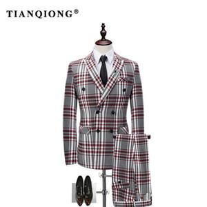 Tian Qiong Ekose Kruvaze 3 Adet Suit Erkekler Kore Moda İş Mens 2017 Dar Kesim Düğün Men Suits Tasarımcılar Suits