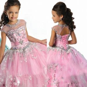 2020 da princesa Menina Pageant Dresses frisados Ruffles Sheer Neck Comprimento vestido de baile Chão-de-rosa flor azul vestidos da menina de lantejoulas Vestido