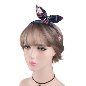 Mulheres Impresso Velvet Cloth Acessórios orelhas de coelho dobrável de aço Headband aptidão para Bath Cosmetic Hair Band