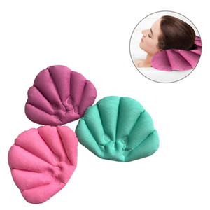 Bath Pillow Inflatable Spa Pillow Soft Back Neck Cushion with Suction Cups for Bathtub Bathroom Accessories (Random Color)