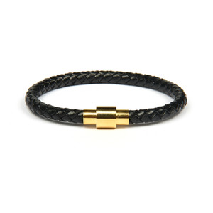 Gold-Silber-Armbänder Uhr Großhandels10pcs / lot Top-Qualität Einfache echtes Leder-Armband mit sainless Stahl Herrenschmuck