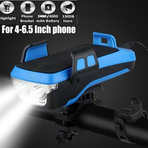 Multi-Function Luz bicicleta USB Waterproof LED bicicleta Head Lamp bicicleta chifre Phone Holder powerbank 4 em 1 MTB Ciclismo Front Light