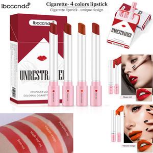 Makyaj Ruj ibcccndc Cigarette Set Kutuları Rujlar Kadife Dudak Marka Cosme Kalıcı 4 Renkler Mat Dudak Seti Nemlendirici Nü Kırmızı Uzun