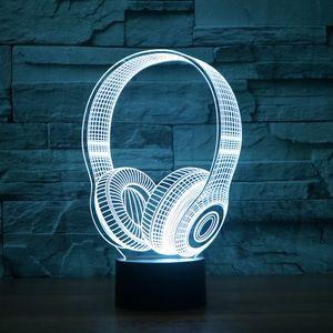3D Lamp Headset DJ Illlusion Estúdio Monitor de alta fidelidade música fone 3d Night Light Headphone colorido Desk Lamp decoração Bedroom