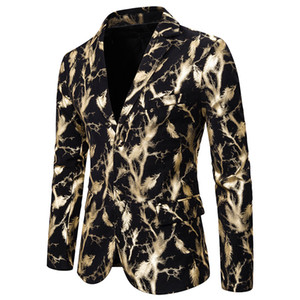 Shiny Gold Foil Print Slim Fit Suit Jacket 2019 Brand DJ Club Stage Blazer Men Wedding Prom Suit Blazers for Men Costume Homme