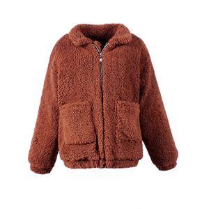 Faroonee élégant manteau fausse fourrure femmes 2019 Automne Hiver chaud doux Fermeture à glissière en fourrure Veste Femme en peluche Pardessus de survêtement décontracté