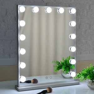 Vanity mirror with lights ,Tabletop&Wall mounted Salon Touch Control 3 color Fixture Strip Dimmable Light Bulbs for makeup