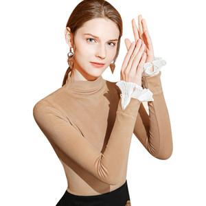 Женская Vintage Luxury футболка Новый дизайн зима с длинным рукавом Sexy Тонкий изысканный моды Труба рукав дамы Топы Тис S-3XL
