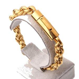 Бабуля Chic Италия Золото из нержавеющей стали Spiga Жгутого звена цепи браслеты для мужчин Моды Мужского 22сма Магнитных ручной цепи ювелирных изделий