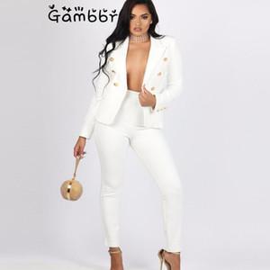 Женские костюмы Blazers Старинные двуспальные женщины белые брюки 2 частей набор блейзер куртка высокая талия 2021 осень зимний офис носить