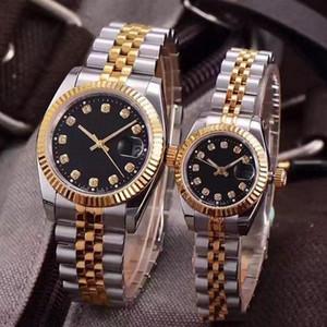 시계 손목 시계 DATEJUST 도매 시계 커플 스타일 클래식 자동 운동 기계의 28mm / 36mm 패션 남성 남성 여성 여자 골드