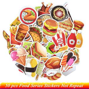 DIY Buzdolabı Dizüstü Bagaj Buzdolabı Bike 50 ADET Fast Food İçecek Çıkartma Karikatür Lezzetli Tatlı Diyet Yaratıcı Sticker
