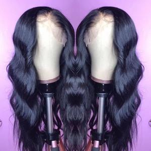 Сырое Индийский Богородица человеческих волос Парик фронта шнурка объемной волны 13x6 Кружева Фронтальная парики Индийский тела волны полный шнурка человеческих волос Парики
