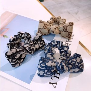Women Letter Hair Rubber Band Bowknot Letter Elastic Ponytail Holder Fashion Hair Accessories for Gift Party High Quality