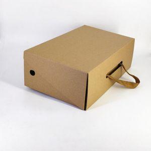 5PCS por mayor a medida logotipo de impresión corrugado duro Brown Papel Kraft de embalaje cajas de zapatos con la cinta de la manija