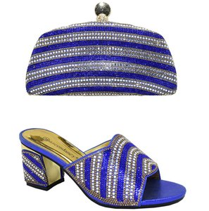 Super High Sexy Ladies New Arrivals Matching Shoes and Bag Set In Heels Matching Shoes and Bag Set for African Party in Blue Color