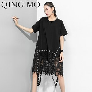 QING MO Black Women Irregular Dress 2020 Women Lace Patchwork Dress Female Short Slave Loose Tide ZQY3631