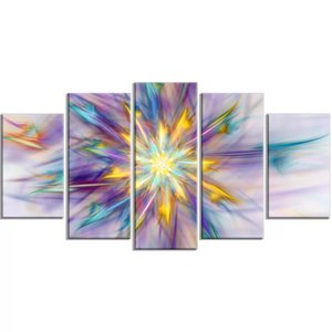 5 Pcs Luminescence Flowers Abstract Canvas Hd Prints Picture Wall Work Painting Home Decor Modular Poster Framed For Living Room