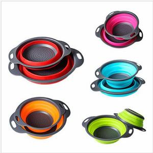 2pcs / set zusammenklappbares Silikon Seiher Sieb Küche Obst Filterkorb Frucht-Gemüse-Seiher Küche Lager Schüssel