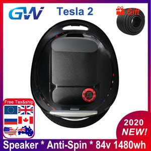 2020 Gotway Tesla v2 ultimo nuovo aggiornamento Anti Spin Altoparlante Bluetooth 1020wh 1480Wh 2000 W monociclo una ruota elettrica monowheel