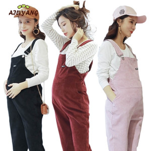 Pregnant Women Jumpsuit Maternity Corduroy Casual Pants Spring And Autumn Overalls Roupa Gestante TrousersMX190910