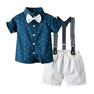 Children Gentleman Outfits Summer Kids Shorts Clothing Sets New Boy Bow Tie Star Printed Short Sleeve Shirt + Stripe Suspender Shorts S192